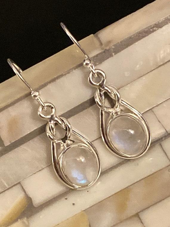Moonstone Gemstone Earrings Handcrafted 925 Sterling Silver