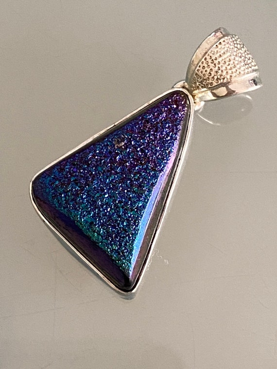 Natural Agate Druzy Pendant Handcrafted India 925 Sterling Silver