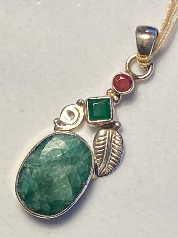 Natural Emerald & Ruby Pendant Handcrafted India 925 Sterling Silver