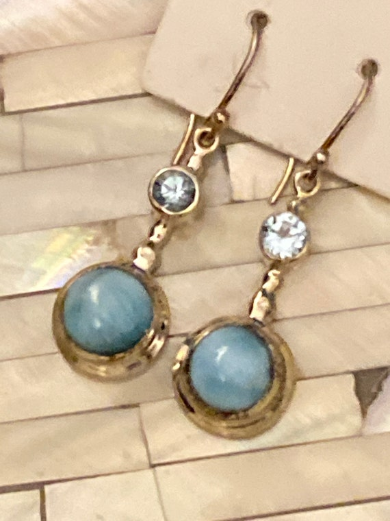 Larimar the Caribbean Gemstone & Blue Topaz Dangling Earrings. Handcrafted,  925 Sterling Silver