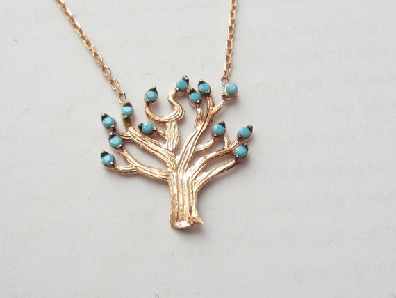 Tree of Life Pendant with Turquoise Gemstone. Rose Gold on 925 Sterling Silver. Free shipping !