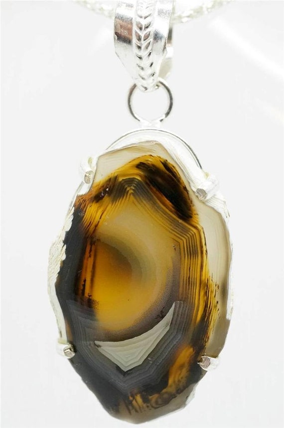 Handcraft Pendant Huge BROWN DRUSY AGATE Gemstone 925 Sterling Silver Plated