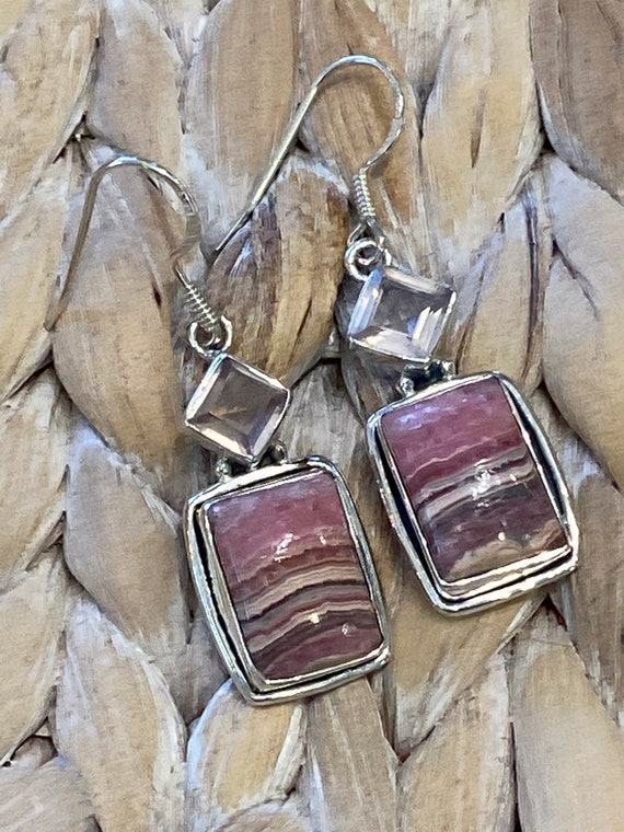 Rhodochrosite & Rose Quartz Square Dangling Earrings. Handcrafted,  925 Sterling Silver