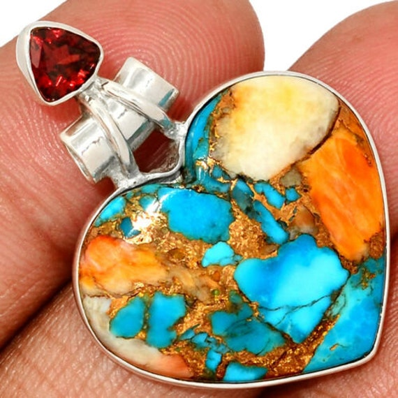 """Heart Spiny Oyster Arizona Turquoise & Garnet 925 Silver Pendant Free Chain 18"""". Free shipping"""