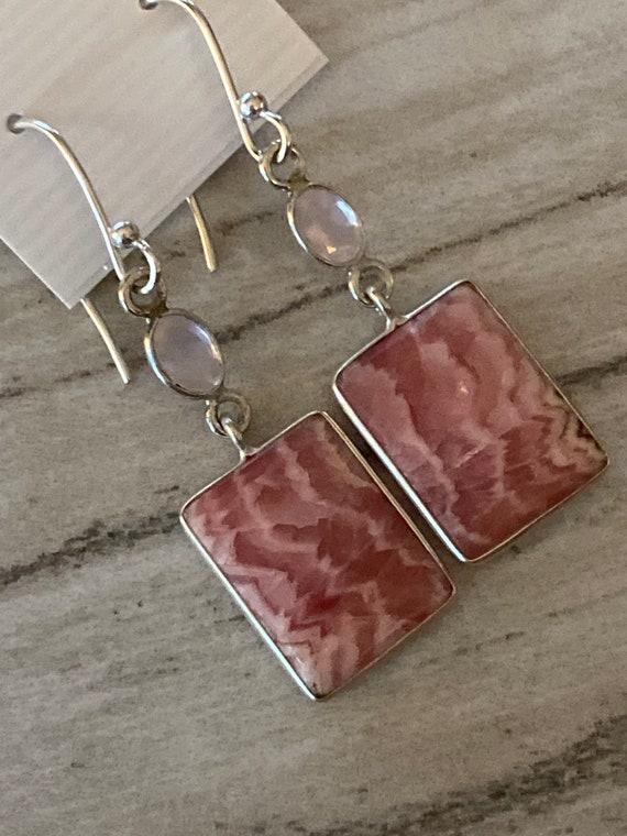 Rhodochrosite & Rose Quartz Square Dangling Earrings. Handcrafted,  925 Sterling Silver