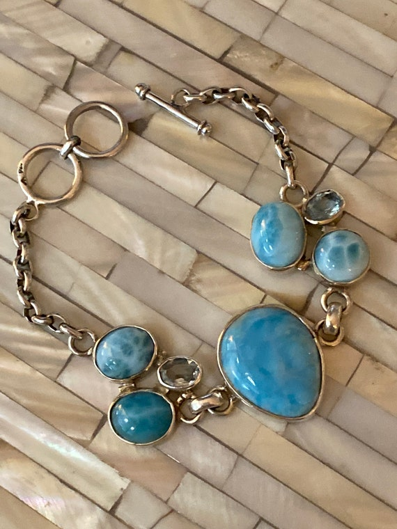 New! Handmade Bracelet Larimar & Blue Topaz One of the kid Sterling Silver 7-8""