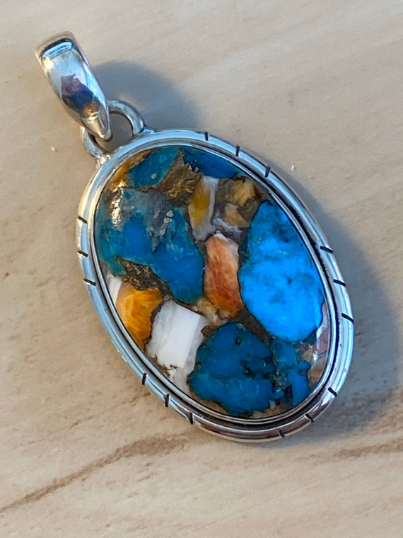 Natural  Spiny Oyster Turquoise Pendant                              Handcrafted India                            925 Sterling Silver