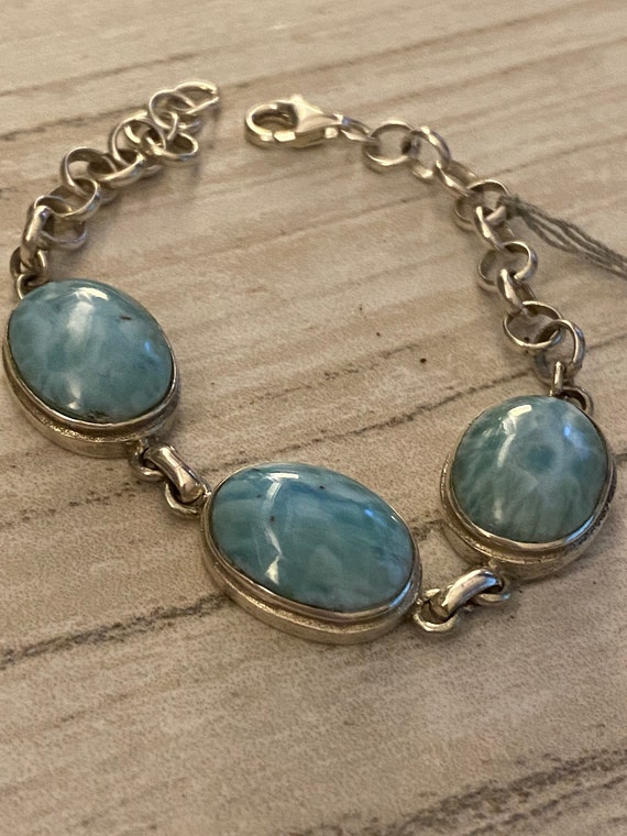 Handcrafted Larimar Caribbean Gemstone 925 Silver Fashion Jewelry Bracelet 7.5 -9 Inch