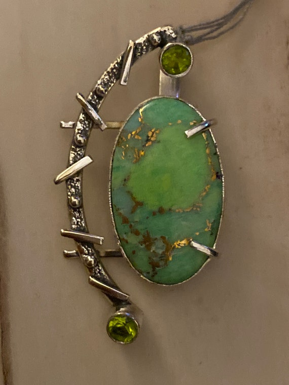 "Cooper Green Turquoise 925 Sterling Silver Pendant. Free Chain 18"". Free shipping"