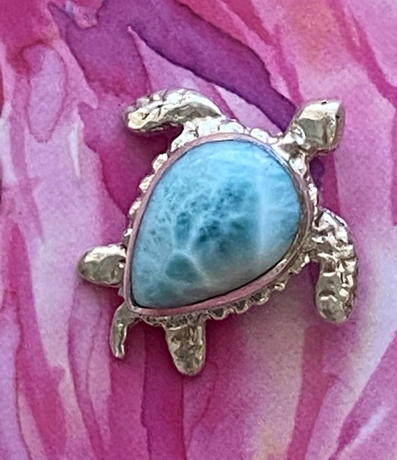 Turtle Pendant 925 Solid Sterling Silver & Caribbean Larimar Jewelry