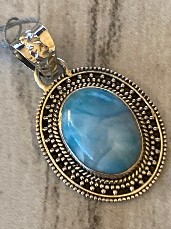 """New! Caribbean Gemstone Larimar Pendant 925 Sterling Silver. Handcrafted.Free Plated Sterling Silver Chain 18"""".Free Shipping"""