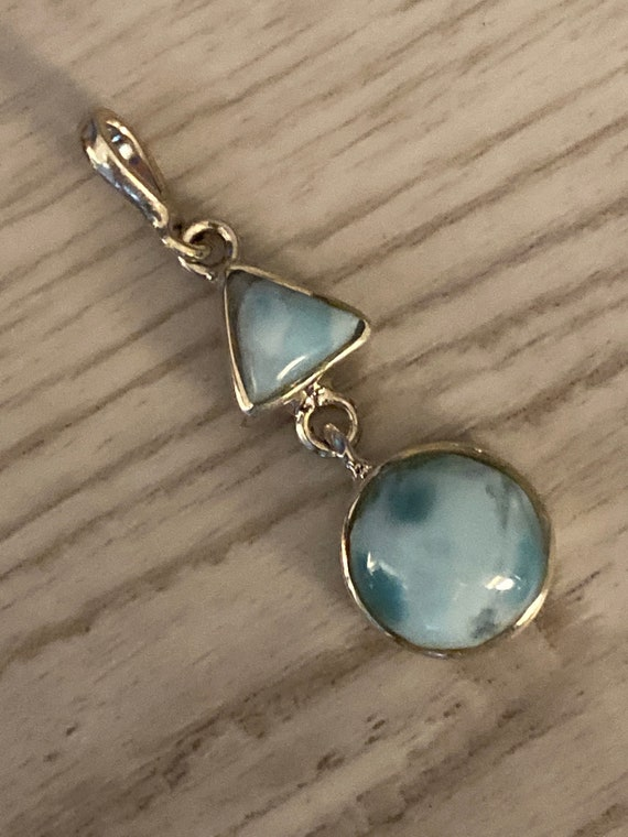 Caribbean Larimar Pendant 925 Sterling silver.Handcrafted.Free silver Plated chain. Free shipping
