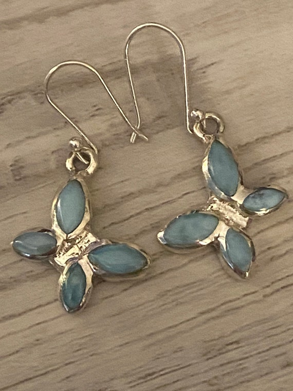New! Caribbean Gemstone Larimar Earrings 925 Sterling Silver. Handcrafted. Free Shipping