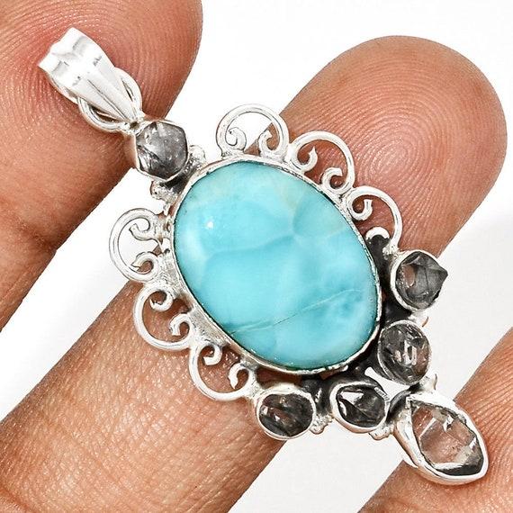 Larimar & Herkimer Diamond 925 Sterling Silver Pendant Jewelry