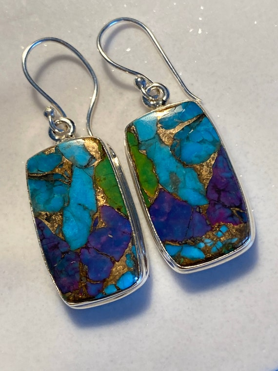 Mojave Turquoise Gemstone Earrings Handcrafted 925 Sterling Silver