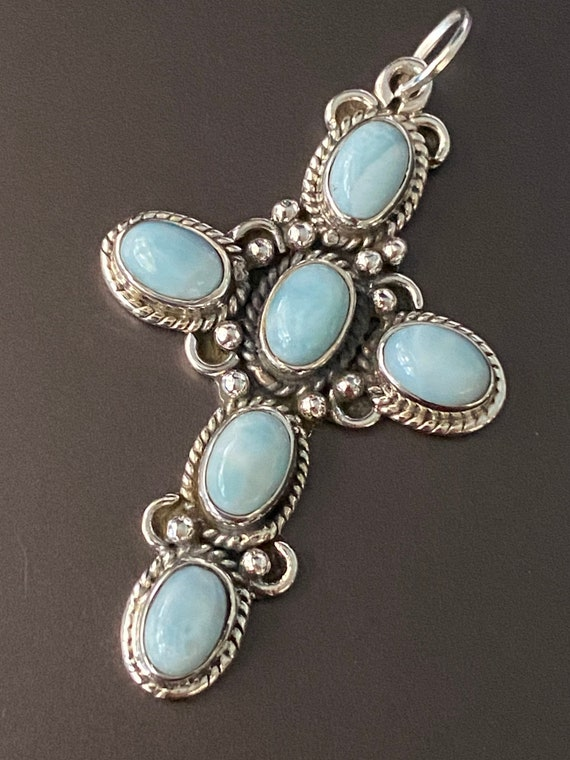 "Cross Genuine Larimar  925 Sterling Silver Pendant. Free Chain 18"". Free shipping"