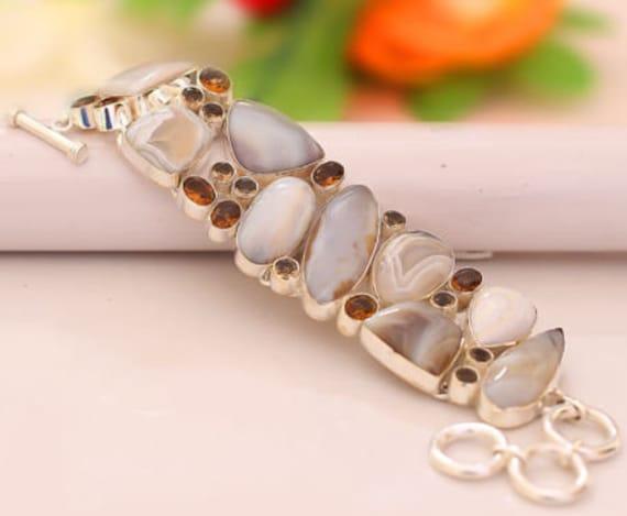 "Botswana Agate Citrine Silver Handmade Jewelry Bracelet 7.5-7.99"""