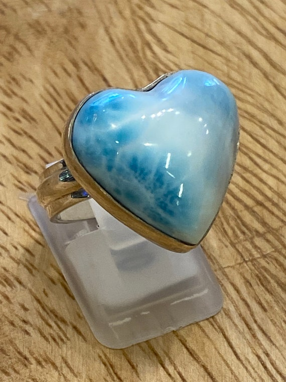 Larimar Stone Heart Ring .Sterling Silver. Size 7 Free Shipping!