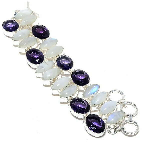 "Rainbow Moonstone, Amethyst Gemstone Handmade Jewelry Bracelet 7-8"""