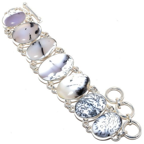 Dendrite Opal Bracelet Handcrafted Sterling Silver Jewelry. India. Free Shipping !