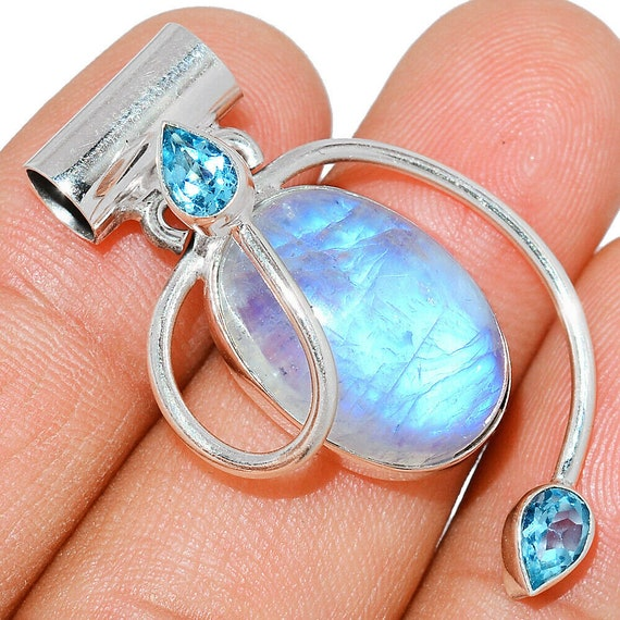 """Moonstone India & Blue Topaz 925 Sterling Silver Pendant. Free Chain 18"""". Free shipping"""