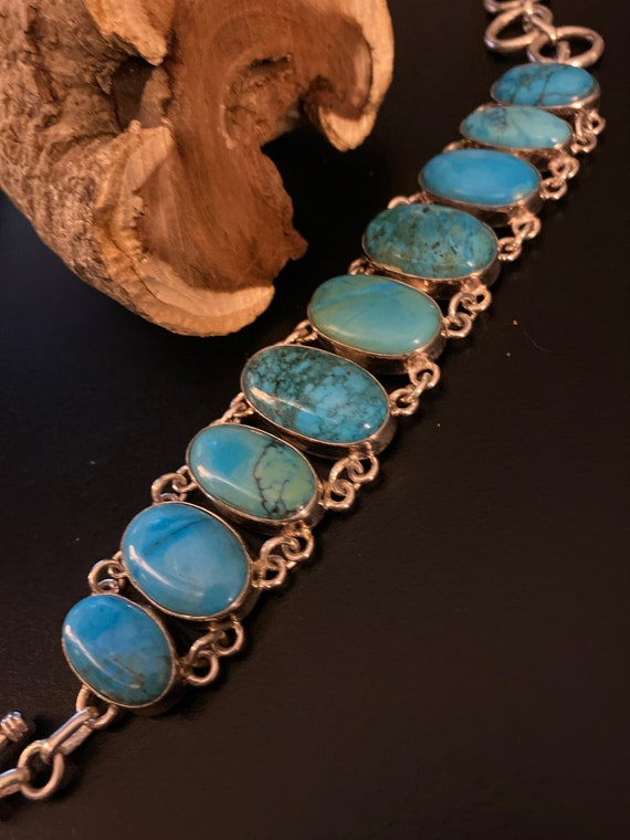 Handcrafted Turquoise Bracelet Solid Sterling silver.