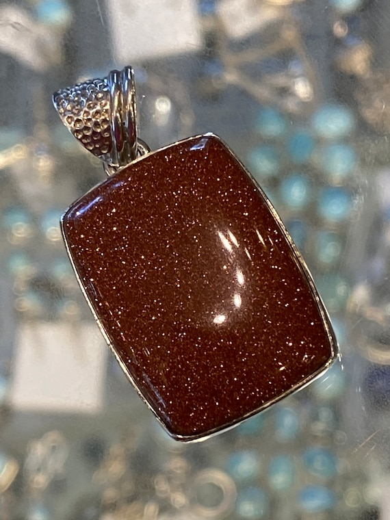 """Sand Stone Orange Pendant Sterling Silver Handcrafted. Free shipping and chain 18"""""""