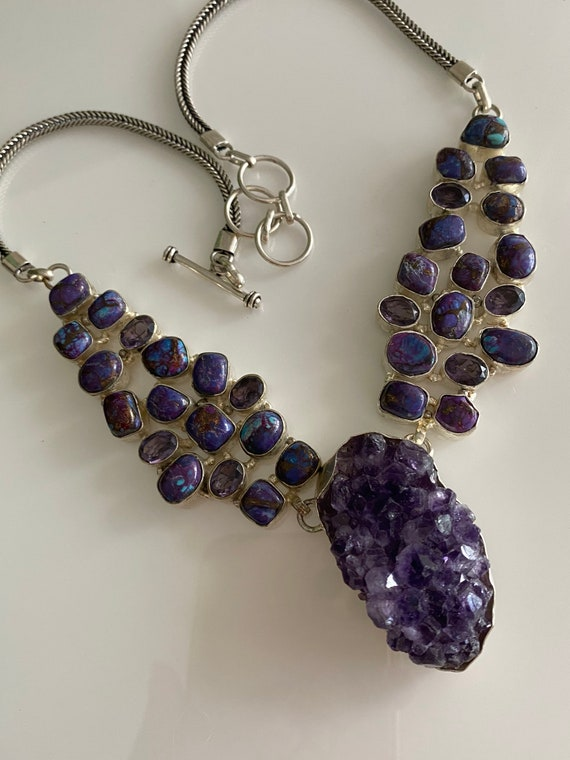 Handcrafted Mojave Purple Turquoise, big raw Amethyst pendant