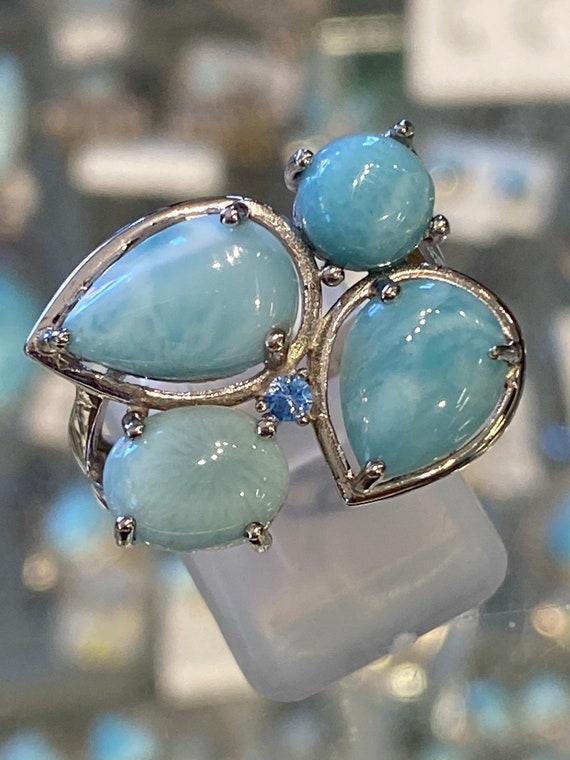 Larimar Caribbean turquoise & Blue Topaz Ring Size 8