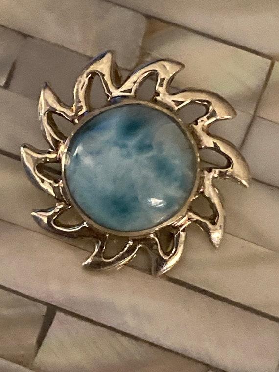 Larimar. Turquoise Stone of the Caribbean. Larimar Pendant. Sun. Free shipping !