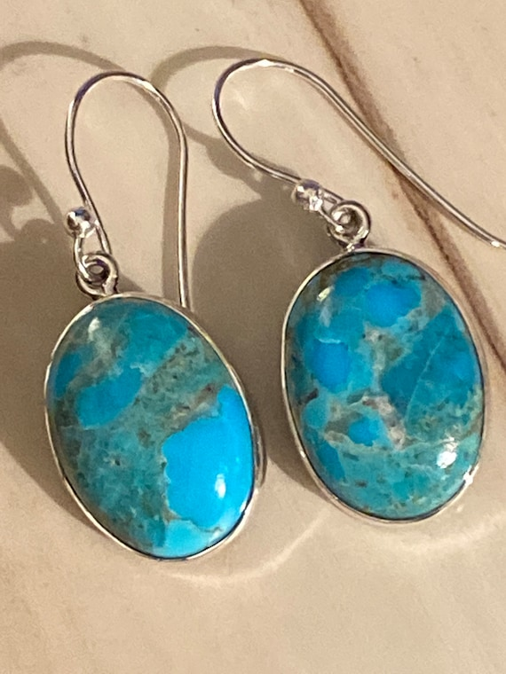 Turquoise Gemstone Earrings Handcrafted 925 Sterling Silver