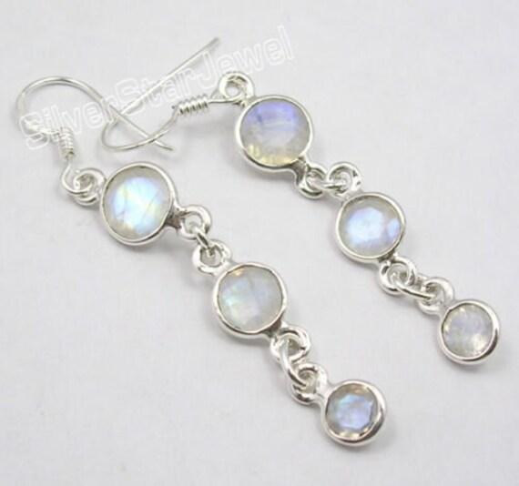 Rainbow Moonstone Multi Gem LONG Earrings 5.5 CM. 925 Sterling Silver