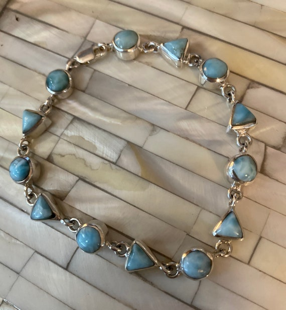 New! Handcrafted Larimar Caribbean Gemstone 925 Silver Fashion Jewelry Bracelet 7.5 -9 Inch