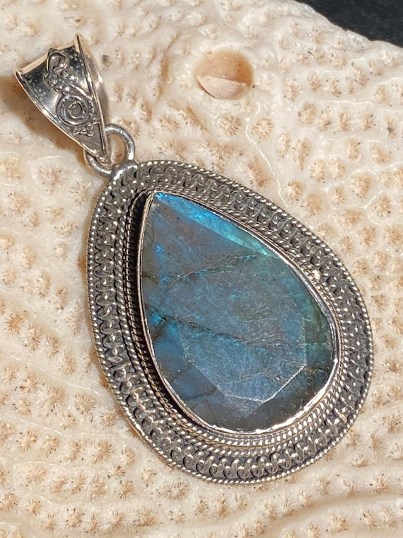 "New Labradorite Pendant Sterling Silver Handcrafted 2 3/4"" inches"
