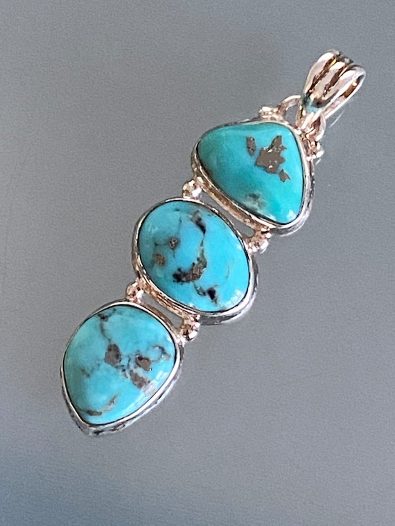 Turquoise & Silver inserts Pendant Handcrafted