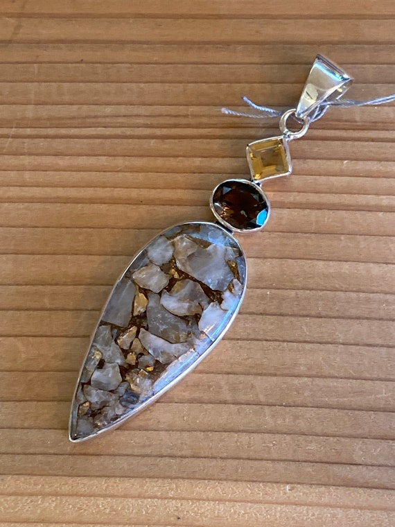 White/Grey Turquoise Pendant Sterling Silver Citrine & smoky topaz Handcrafted