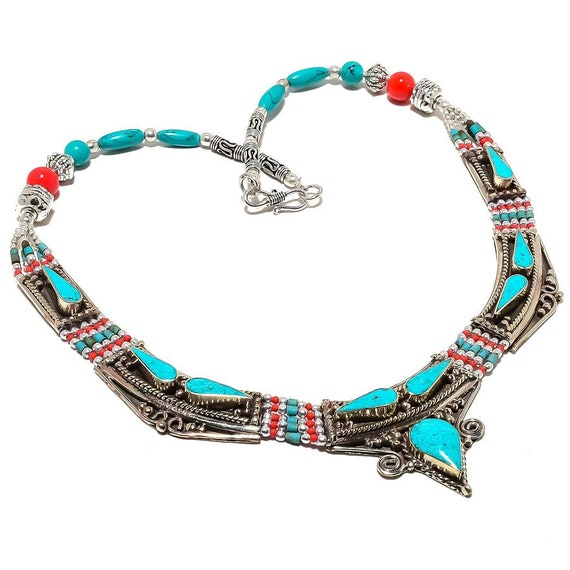 Turquoise, Coral Gemstone Handmade 925 Silver Tibetan Necklace 18""