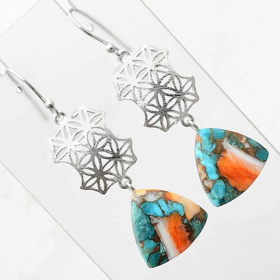 Spiny Oyster Turquoise - Arizona 925 Sterling Silver Earrings Jewelry