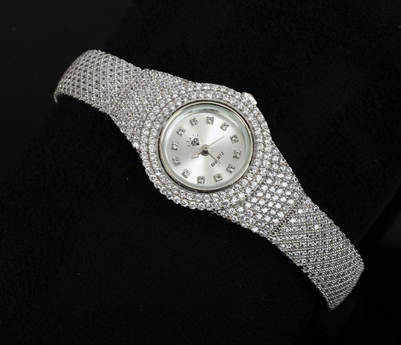 Woman Wristband Watch 33 Grams of White Topaz Gemstone.925 solid Sterling Silver Turkey