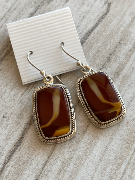 Gemstone earrings. Imperial Jasper. 925 Sterling Silver. Handcrafted.