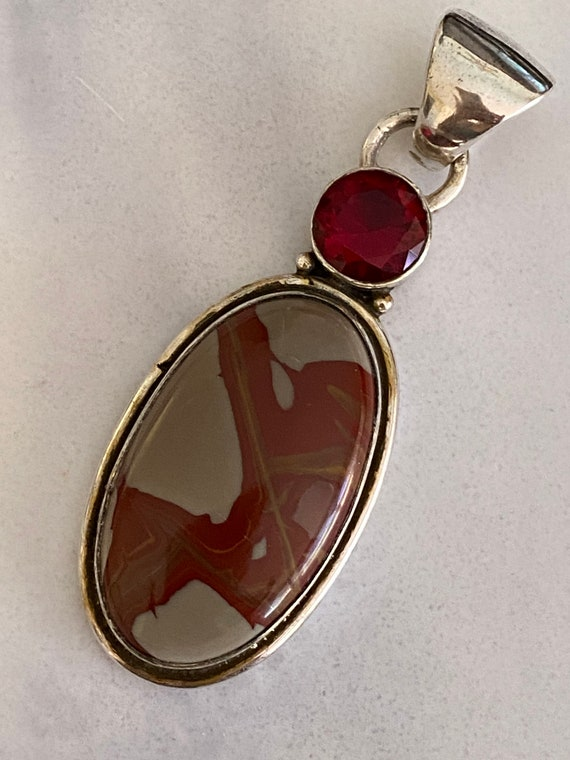 Natural Imperial Jasper & Garnet Handcrafted 925 Sterling Silver