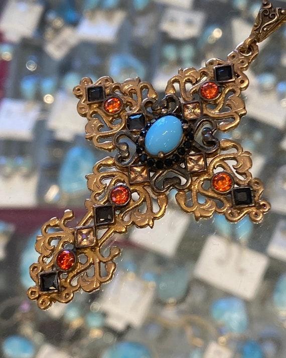 Turquoise,Orange Garnet & Spinel Handmade Turkey's Sterling Silver Bronze Cross.
