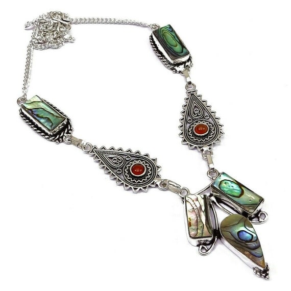 New ! Abalone Shell Gemstone Handmade Jewelry Necklace 18""