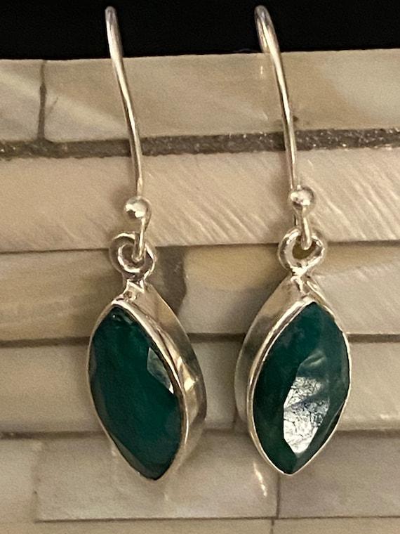 Untreated Emerald Gemstone Earrings Handcrafted 925 Sterling Silver