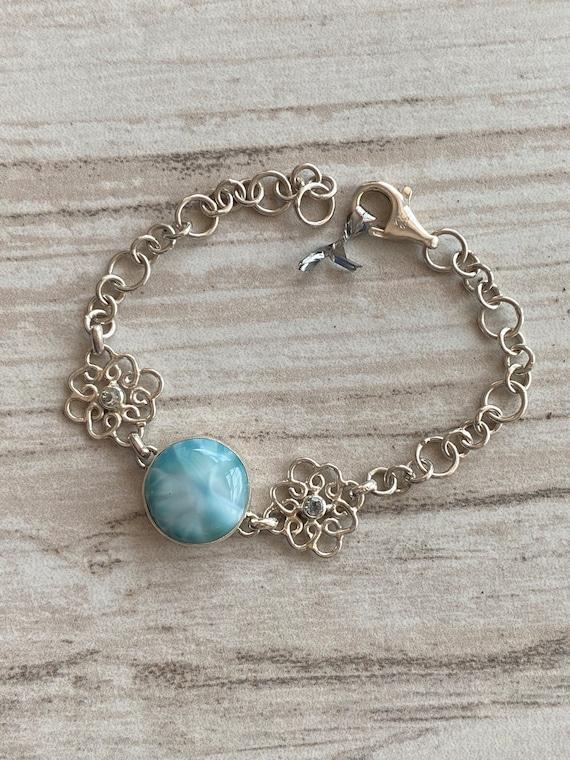 Caribbean Gemstone Larimar & Blue Topaz Bracelet 925 Sterling Silver. Jewelry