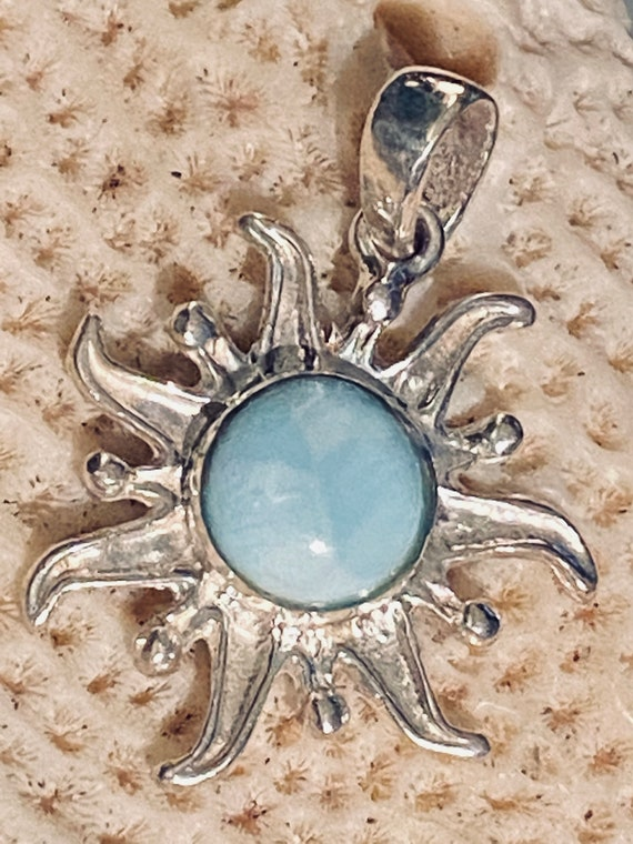 New Beautiful Caribbean Larimar 925 Sterling Silver Pendant Handcrafted Jewelry