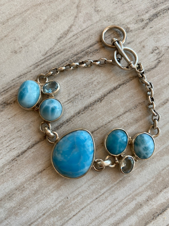 One of the Kind Larimar Bracelet & Blue Topaz. Handcrafted. 925 Sterling silver