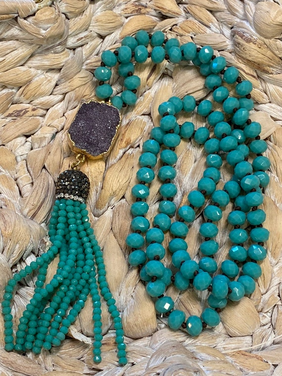 Turquoise Shining Beads & Agate Druzy Necklace. Free Shipping!!*•*!!