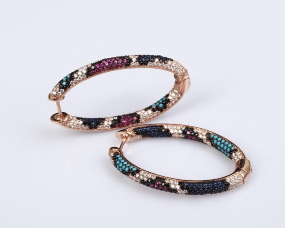 Fine Jewelry* Oval Hoops Earrings White Topaz, Turquoise, Sapphire & Ruby  Rose Gold