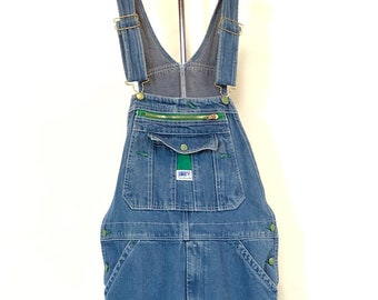 8eacba08297f Vintage 90s Liberty Denim blue Jean overalls with green pocket womens mens  32 34 small S medium M painters carpenter work pants grunge